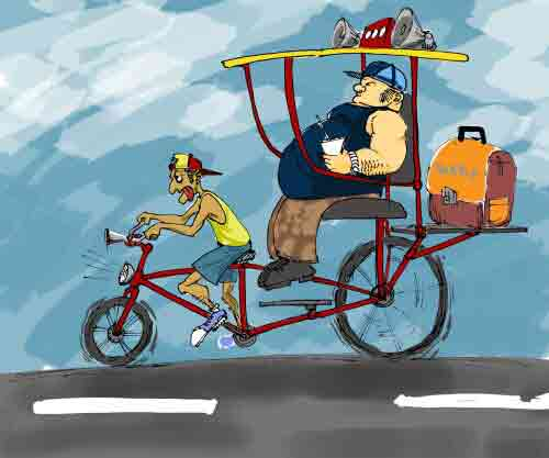 Caricatura Bici taxi