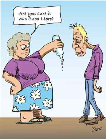 The Cuba Libre is a popular mixed drink from Cuba that combines rum, coke, and lime. Caricature: Boyce