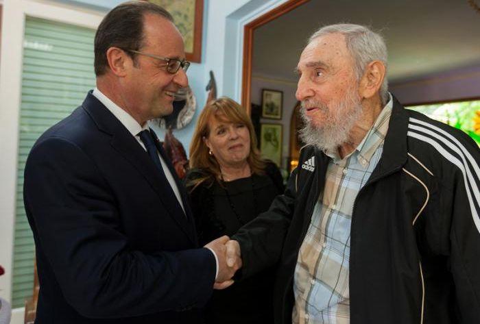 François Hollande and Fidel Castro