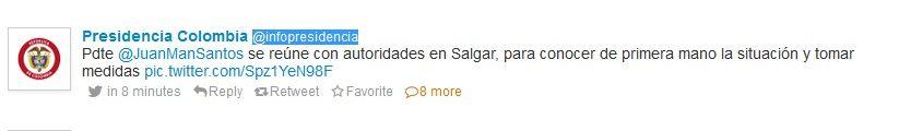 tweet Colombian presidence