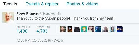pope thanks cuba