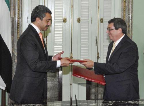 Bruno Rodríguez Parrilla (R) and Abdullah Bin Zayed. (Photo: AIN)