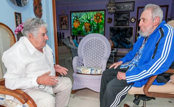 Fidel Castro Welcomes Former Uruguayan President Jose Mujica. Photo: ACN