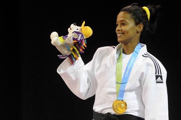 Dayaris Mestre de Cuba ganadora de la medalla de Oro, en la categoría de los 48 Kg del judo de los XVII Juegos Panamericanos,  en el Centro Deportivo de Mississauga, en Toronto, Canadá, el  de julio de 2015.   AIN FOTO/ Roberto MOREJON RODRIGUEZ