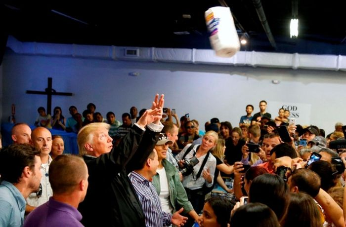 escambray today, donald trump, hurricane irma, hurricane maria, puerto rico, toilet paper