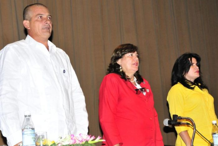 President (C), Vice President (L) and Secretary (R) of the Provincial Assembly of the People's Power in Sancti Spiritus.