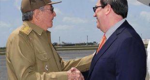 Raul Castro and Bruno Rodriguez