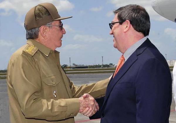 Raul Castro and Bruno Rodriguez