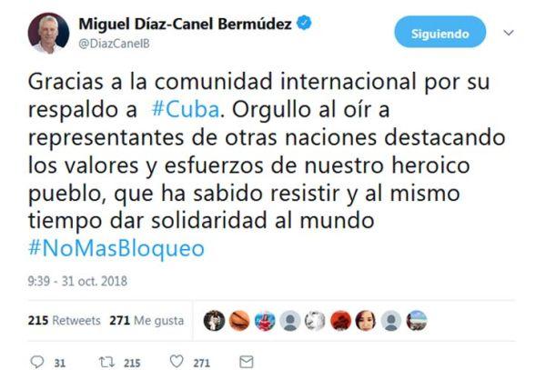 Díaz Canel tuit