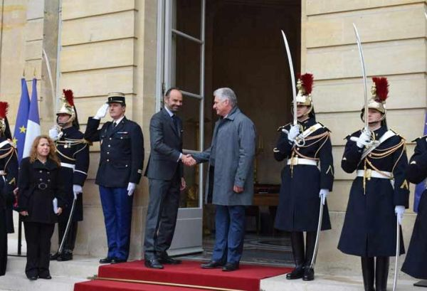 diaz-canel with prime minister of france