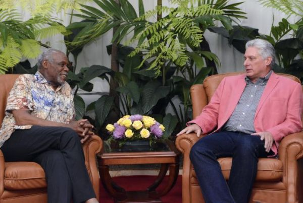 Diaz Canel and Danny Glover