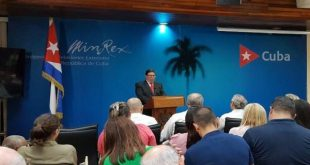 Cuban Foreign Minister during a press conferences to present the new report on the impact of the USA blockade on Cuba