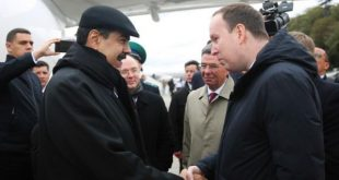 Nicolás Maduro and his delegation upon arrival in Moscow
