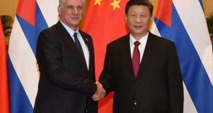 Díaz Canel and Xi Jinping shake hands