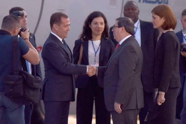 Cuba Foreign Minister Bruno Rodríguez Parrilla welcomes Russian Prime Minister upon his arrival in Havana