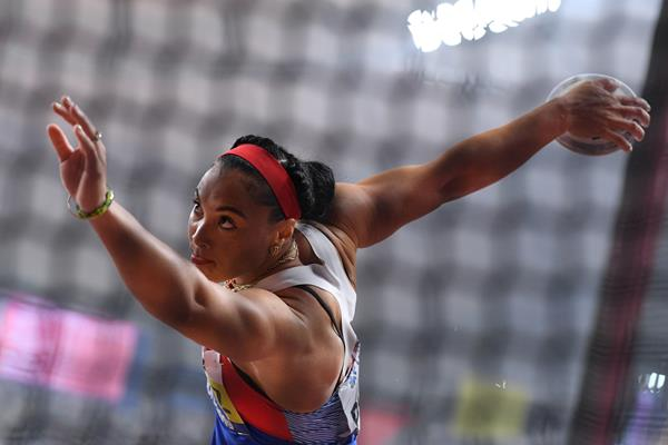 Cuban Yaime Perez, discus throw champion at the IAAF World Athletics Championships Doha 2019