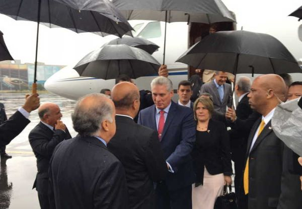 Cuba President Miguel Díaz-Canel upon arrival in Mexico