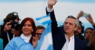Alberto Fernandez and his running mate, former President Cristina Fernandez, greet supporters in Mar del Plata, Argentina, on October 24, 2019