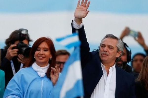 Alberto Fernandez and his running mate, former President Cristina Fernandez, greet supporters in Mar del Plata, Argentina, on October 24, 2019