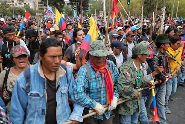 Demonstrators participate in a protest in Ecuador against measures announced by President Lenin Moreno