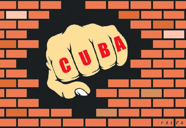 us blockade against cuba, illustration by falco