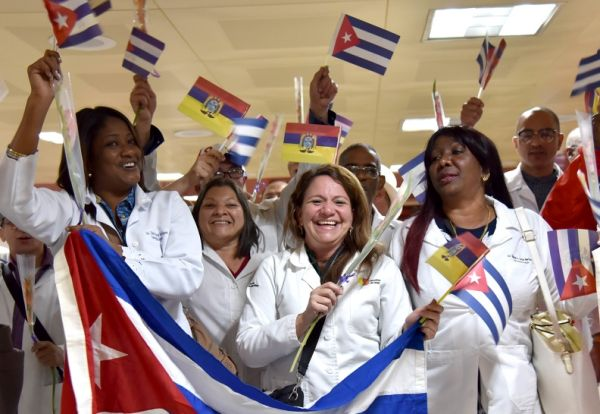 Members of the Cuban medical brigade who were working in Ecuador upon arrival in Havana's Jose Martí Airport