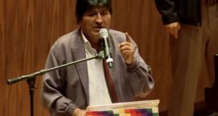 Evo Morales during his speech at the National Autonomous University of Mexico.