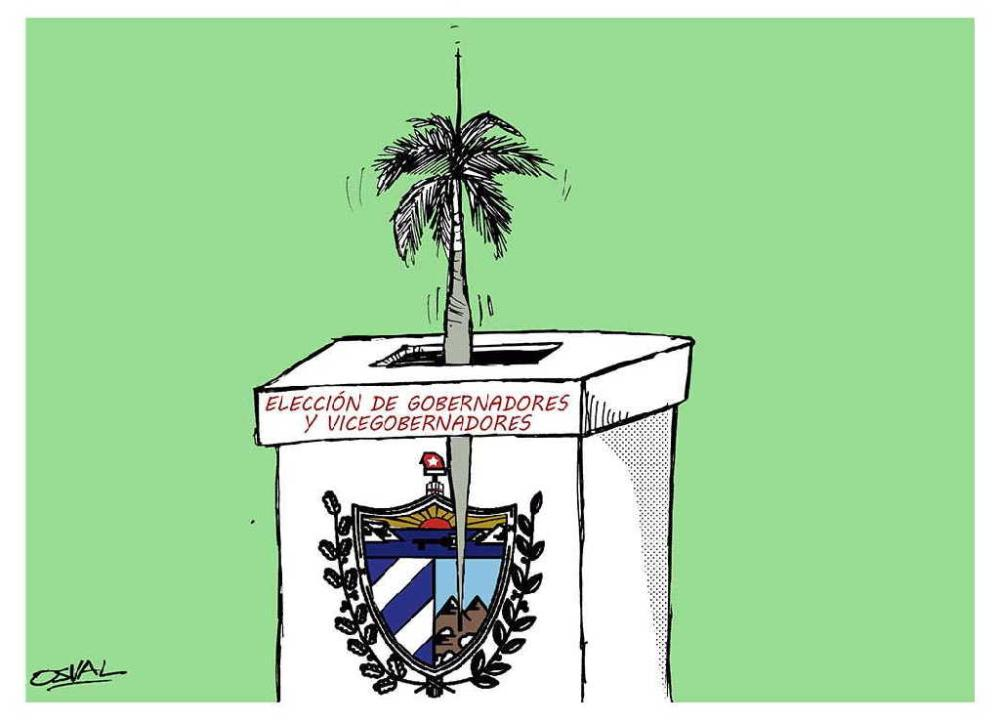 election of governors and vice governors in cuba. illustration by osval