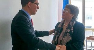 Venezuela Minister of Foreign Affairs Jorge Arreaza during a meeting with the U.N. High Commissioner for Human Rights Michelle Bachelet
