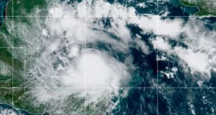 This satellite image shows Tropical Storm Nana approaching Belize on Wednesday