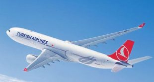 a turkish airliner in mid-air