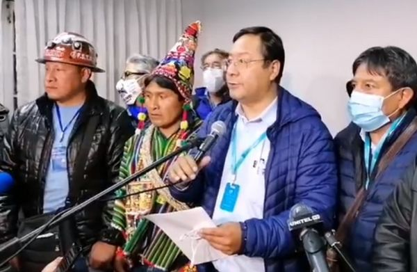 Luis Arce, accompanied by several other MAS leaders, made a statement after the announcement of the results of the election