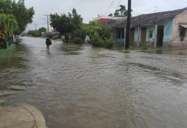 Flooded street in the town of Casilda, Trinidad, central Cuban province of Sancti Spiritus