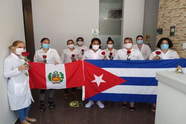 members of the Cuban medical brigade which fought COVID-19 in Peru