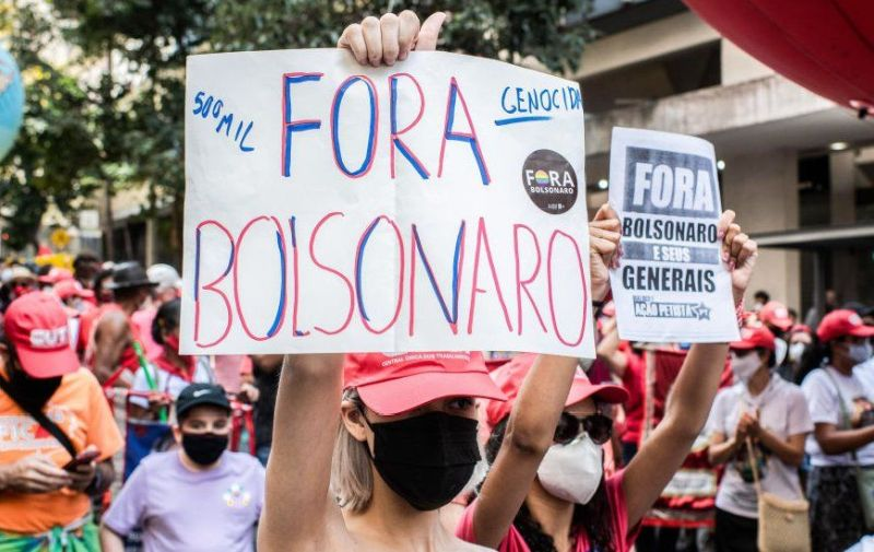 oponents of bolsonaro during a demonstration